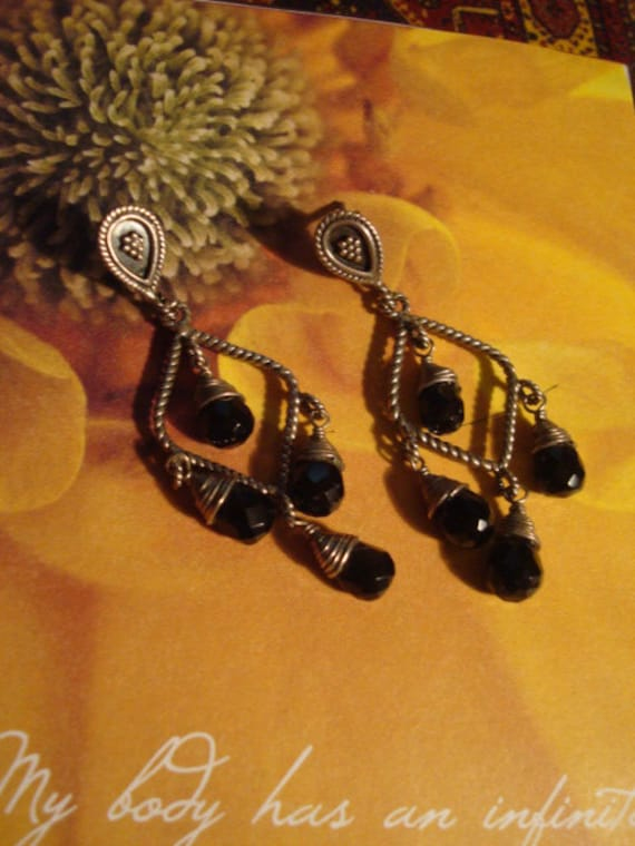 Old World Mexican Black Onyx and Sterling Chandelier  Earrings