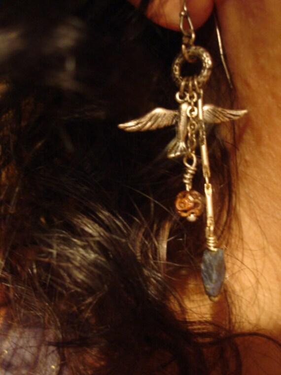 Blue Stone Bird Earrings