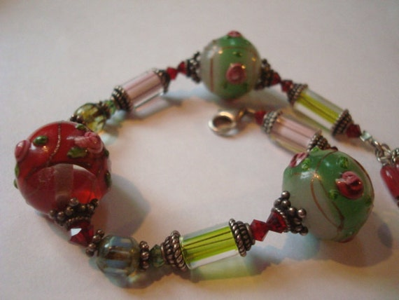 """Hand blown glass bead and STERLING bracelet with dangle charms  8 1/4"""""""