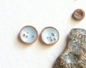 Cyber Monday Etsy sale natural beauty - handmade organic winter periwinkle lichen enamel on copper and sterling silver stud earrings