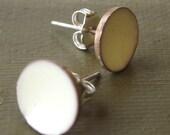Antique White Enamel Post Earrings - medium stud - handmade diamond white enamel concave dish earrings