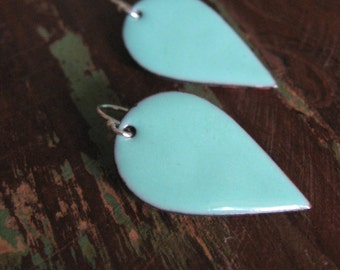 Feather Dagger --- handmade turquoise enamel on copper and sterling silver earrings