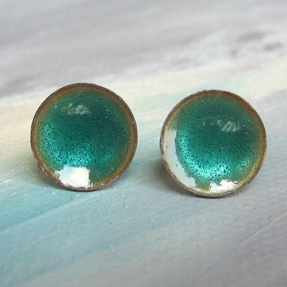Alpine Dew Drops - small stud - Handmade Blue Green Enamel on Copper Post Earrings