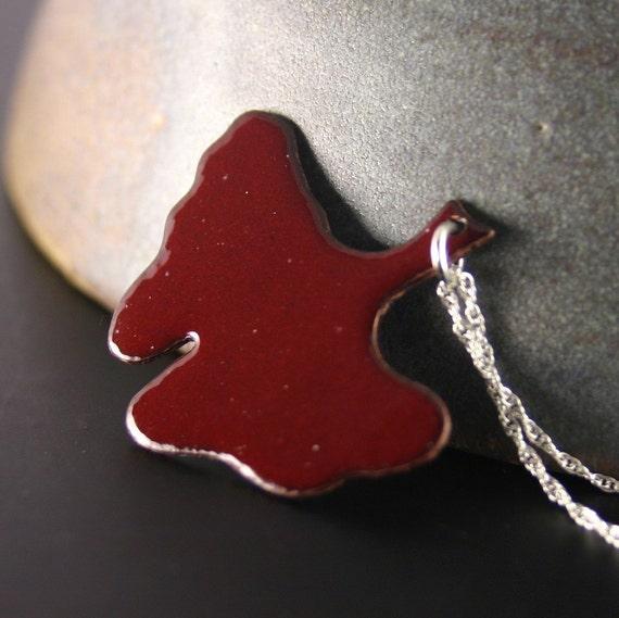 Autumn - Handmade Burgundy Enamel Ginkgo Leaf and Sterling Silver Necklace