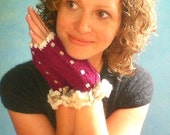 Fingerless Mitts in Plum and Cream. Alpaca and Silk. Handknit with Little Buttons.