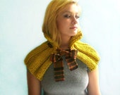 Wool Cape. Handknit Yellow with Wool Plaid Ribbon