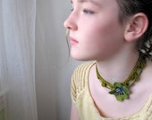 Silk Flower Necklace in Dark Chartreuse, Moss, and Blue. Handknit Lace.