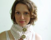 Cream Cowl with Light Pink. Handknit in Alpaca and Merino. Cute Handmade Faux Ivory Buttons.