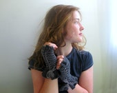 Handknit Fingerless Gloves in Graphite and Dove Gray Stripes. teens. Girls. Womens.