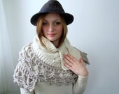 Chunky Cream Knitted Shawl with Lacy Crocheted Trim. Oversize. Soft. Cozy. Warm.
