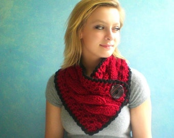 Red Handknit Scarf. Chunky Scarflette with Twisted Cables. Charcoal Gray Crochet Trim and Big Button.