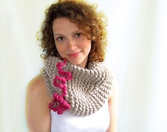 Chunky Knitted Cowl. Pale Taupe with Raspberry Pink Ruffle. Cozy, Modern, and Feminine.