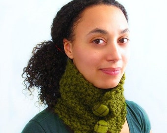 Moss Green Handknit Cowl with Wool Tweed Buttons