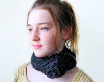 Graphite Gray Cabled Handknit Necklet with Crochet Flower Button. Dark Gray.
