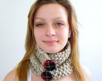 Beige Cowl with Tartan Buttons. Handknit Necklet. Chunky. Wheat, Ivory, Light Brown