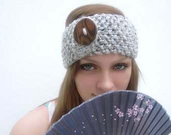 Handknit Headband with Faux Wood Button - Choose Your Color