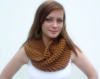 Brown Cowl. Chunky Infinity Scarf. Handknitted in Caramel. Simple and Chic Fall Fashion. Super Snuggly