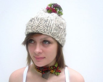Pom Pom Hat in Ivory. Chunky Handknit. REDUCED BY 30 PERCENT