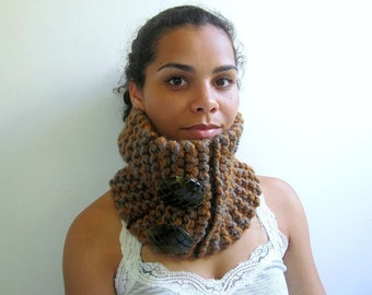 Brown Cowl, Chunky, Modern, with Faux Alligator Buttons. Handknit. Mocha, Taupe.