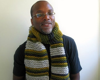 Mens Handknit Chunky Scarf in Gray, Pea Green, and Olive Stripes