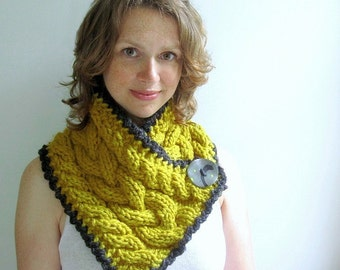 Yellow Scarf. Chunky Handknit in Cables. Big Handmade Button. Lemonade Rain Scarflette. Custom Order Your Color