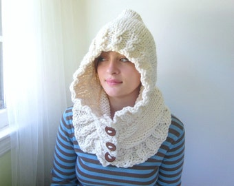 Cream Hoodie. Chunky Handknit. Hooded Scarf. Cozy. Winter White. Ivory.