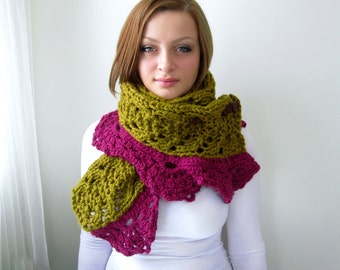 Chunky Chartreuse Knitted Shawl with Pink Lacy Crocheted Trim. Oversize. Soft. Cozy. Warm.