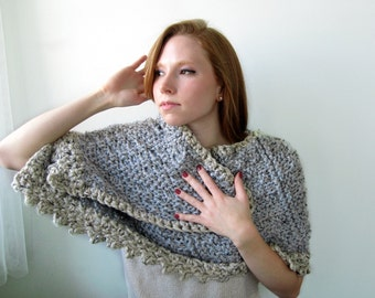 Handknit Gray and Ivory Chunky Shawl