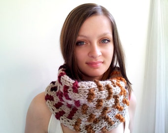 Wheat and Earth Tones Textured Cowl. Chunky Handknitted. Super Snuggly