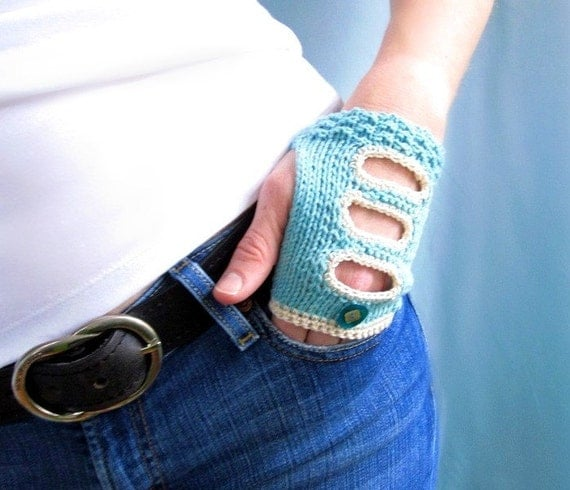 Cotton Fingerless Gloves. Driving Mitts. Aqua and Cream. Handknit. REDUCED BY 30 PERCENT