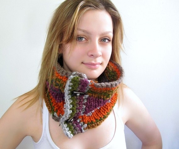 Chunky Modern Cowl in Orange, Plum, Green with Black Toggles. Handknit and Crocheted.