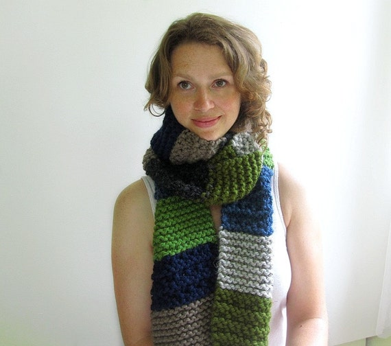 Long Handknit Scarf in Gray, Navy, Grass, Moss, Denim, and Taupe Chunky Stripes. Unisex.