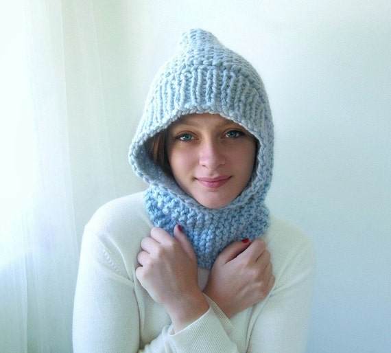 Ice Blue Hoodie. Chunky Handknit. Soft and Snuggly.