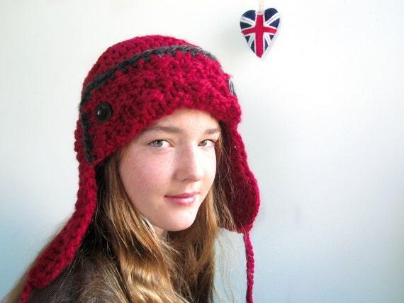 Aviator Hat in Scarlet Red. Charcoal Trim. Chunky. Handknit. Girls. Women. Teens.