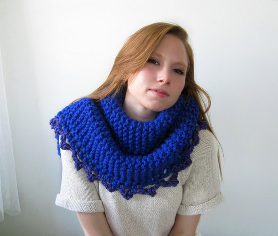 Chunky Royal Blue Knitted Shawl with Purple Crocheted Trim. Oversize. Soft. Cozy. Warm.