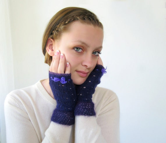 Handknit Cashmere Gloves in Purple. Lacy Fingerless with Soft Mohair Trim.
