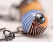 oceanview: yellow blue brown blown glass silver earrings