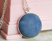 blue suede vintage lucite necklace