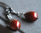 red silk: swarovski crystal and silver earrings