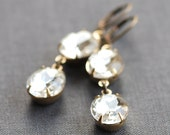 vintage glam earrings - clear glass crystal jewels