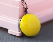 yellow cab vintage glass and silver bezel necklace