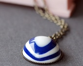 blue and white  vintage lucite necklace