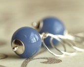 harebell blue glass and silver earrings - bright