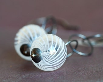 air earrings white glass and silver