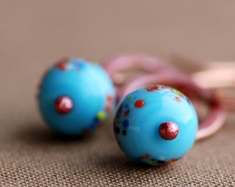 tiny colors: turquoise glass copper earrings