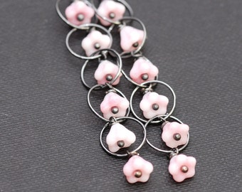 pink flowers and oxidized silver cascade earrings