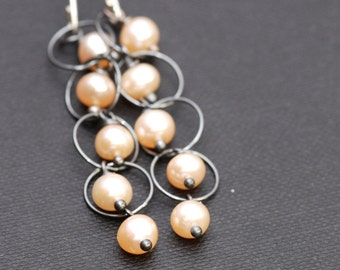 peach freshwater pearls and oxidized silver cascade earrings