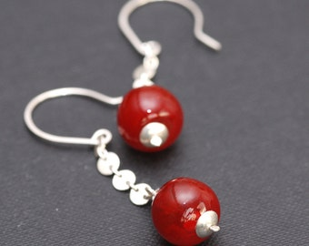 cherry red blown glass silver earrings
