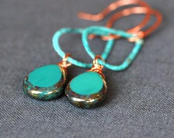 aqua green glass and copper patina teardrops earrings - small