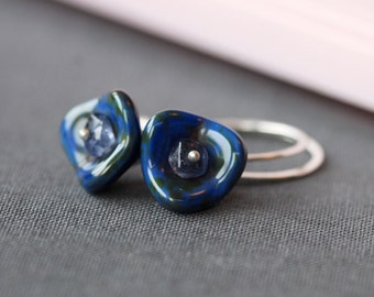 blue flowers glass and silver earrings